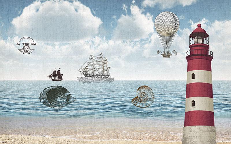 a00182(t3)青少年墙布1灯塔海盗船海螺热气球海滩北欧儿童卡通
