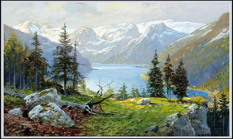 xt10711中式山水湖边雪山树林风景油画