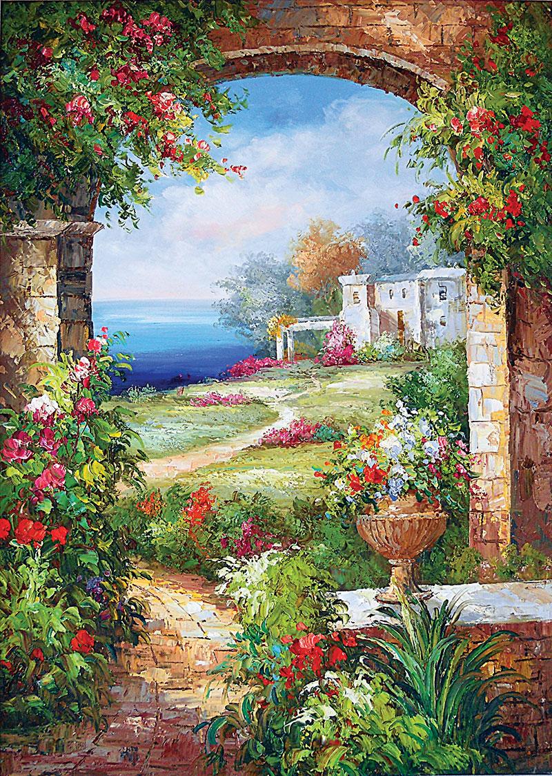 xt10965玄关美式花园花盆拱门海边风景鲜花油画