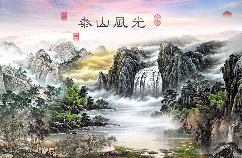 xt11002中式山水瀑布亭子太阳泰山风光风景黄绿色