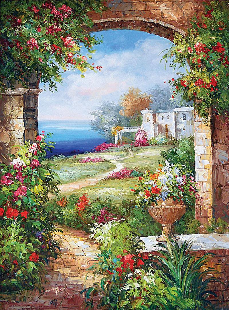 xt11092美式花园鲜花盆海边拱门油画