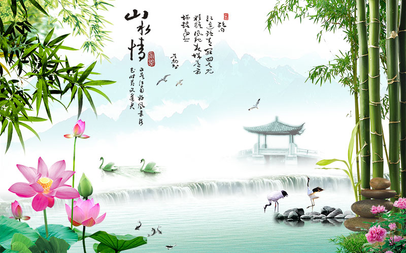 xt11093中式园林翠竹子荷花仙鹤亭子金鱼山水情寓意湖景