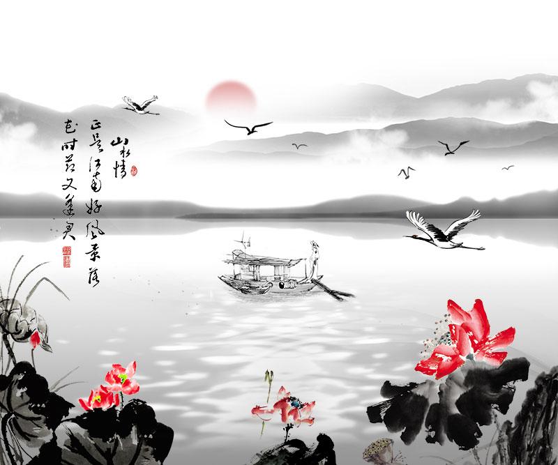 xt11342中式水墨荷花仙鹤渔船山水情寓意