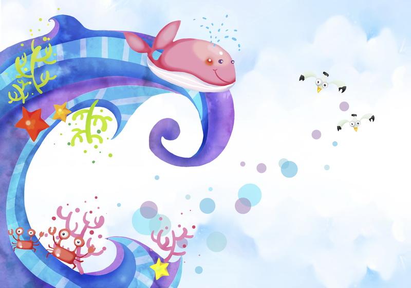 8439软包壁画儿童卡通海底动物鲸鱼螃蟹飞鹤星星