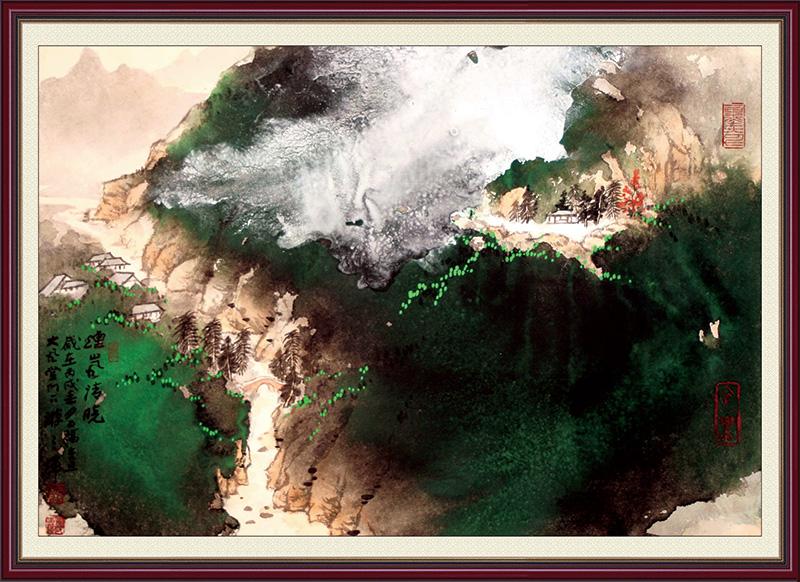 xt11992中式水墨山水山中房子云海古画框画