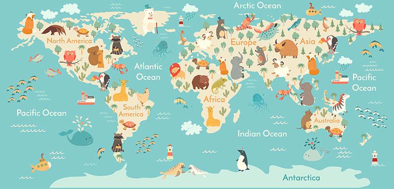 xt91048儿童卡通世界地图企鹅动物