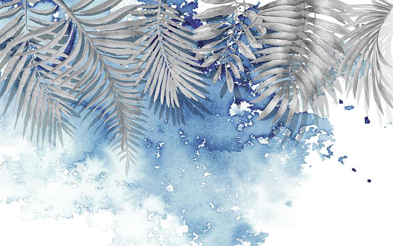 壁画_背景墙_a02169(w1)现代简约蓝色水墨树叶美式