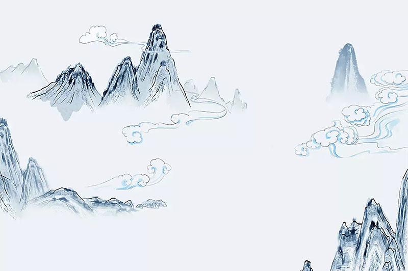 a02258(w1)现代简约中式水墨山水祥云淡雅山峦