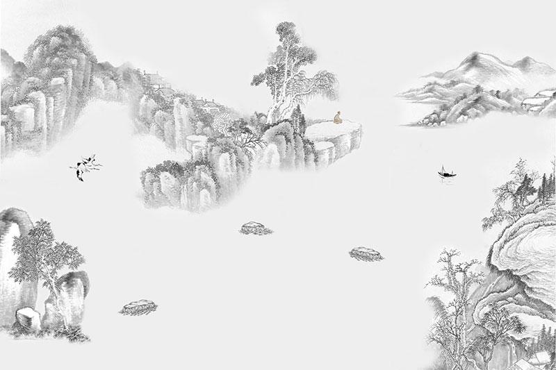 a02260(w1,t32)现代简约中式水墨山水渔船仙鹤_壁画