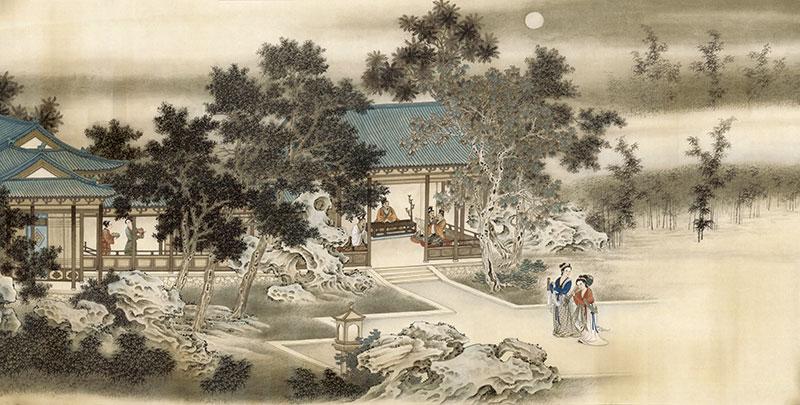 shh0171手绘中式古代美女庭院假山树
