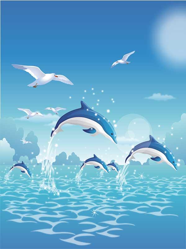 7329儿童卡通海洋世界海面海豚海鸥蓝天玄关