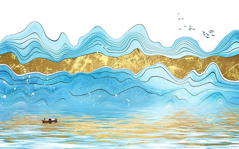 渔船打鱼矢量图
