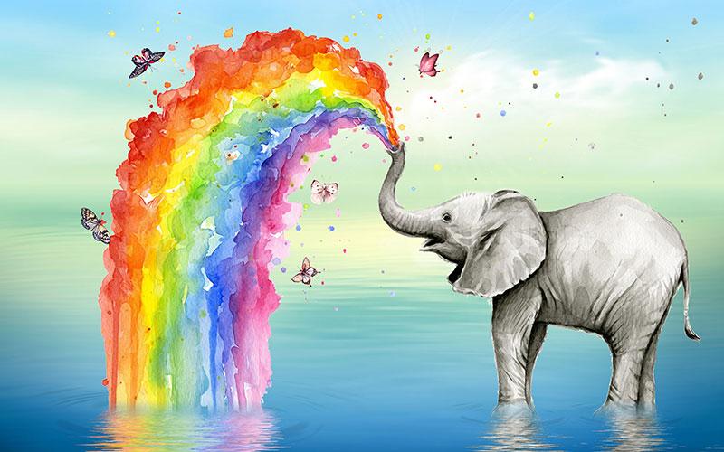 a03163(h1)盛世儿童卡通水中大象喷水彩虹蝴蝶