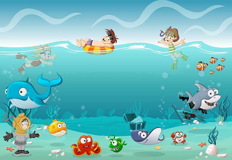 xt91510兒童卡通海底世界潛水小女孩鯨魚男孩救生圈鯊魚寶藏烏賊