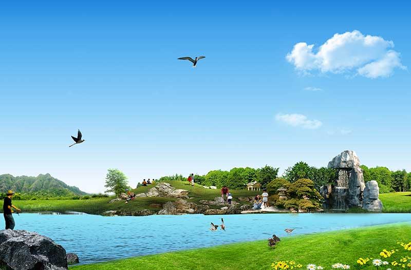 xt14009美式田园河边草地公园游玩飞鸟蓝天白云风景