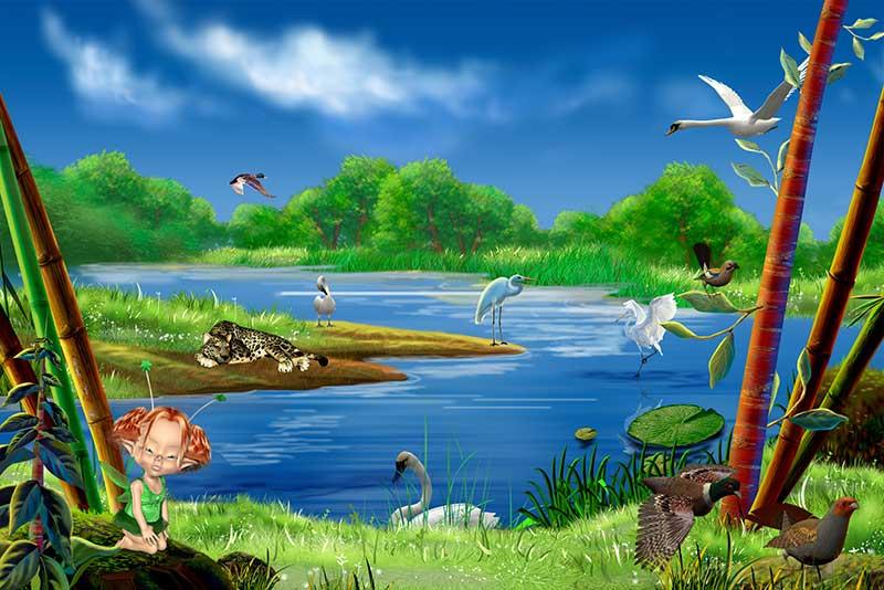xt14133儿童卡通小女孩池塘天鹅豹子仙鹤河边竹子蓝天