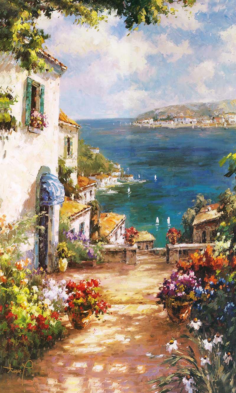 xt91824美式玄关海边花园房子蓝天油画