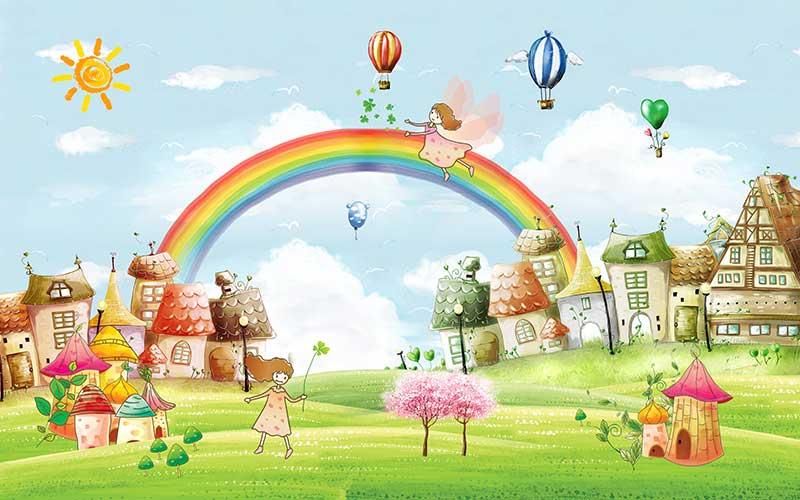 xt91909儿童卡通游乐园房子彩虹女孩热气球蓝天白云草地