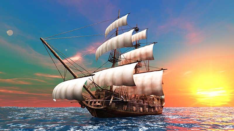 壁画_背景墙_xt15236美式地中海海上大海盗船晚霞蓝天