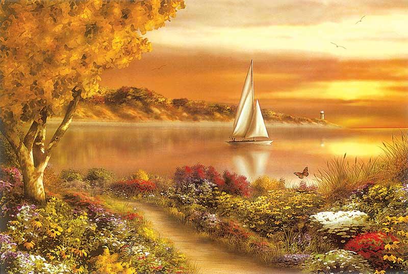 xt18015美式田园小路金秋树林河边帆船油画