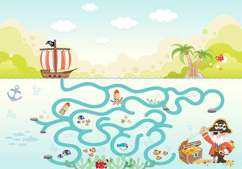 a03922(t36)少年儿童卡通海盗珠宝箱迷宫海盗船