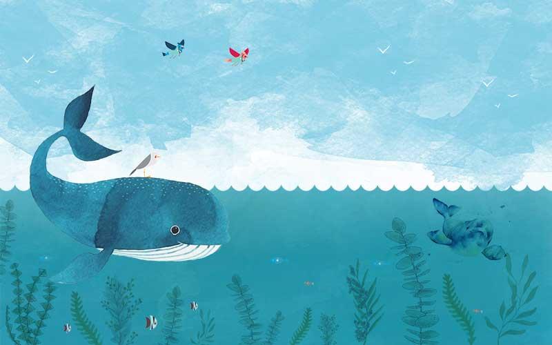 xt92328儿童卡通鲸鱼大海水草鱼群蝴蝶