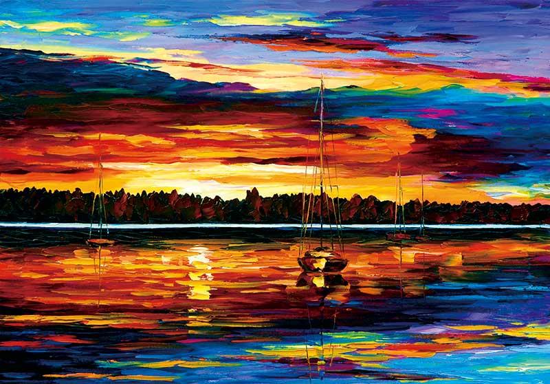 xt17942美式晚霞海上渔船日落风景油画