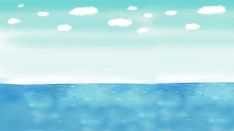 xt13277儿童卡通蓝色大海海上白云