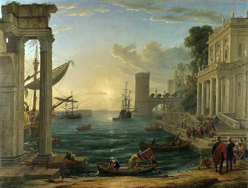 u0009欧式建筑海边罗马柱子房子船艺术油画工装画古画