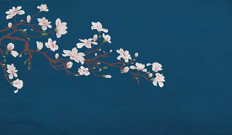 yb099xb(tx01)刺绣独绣1中式花鸟白玉兰花枝麻布纹