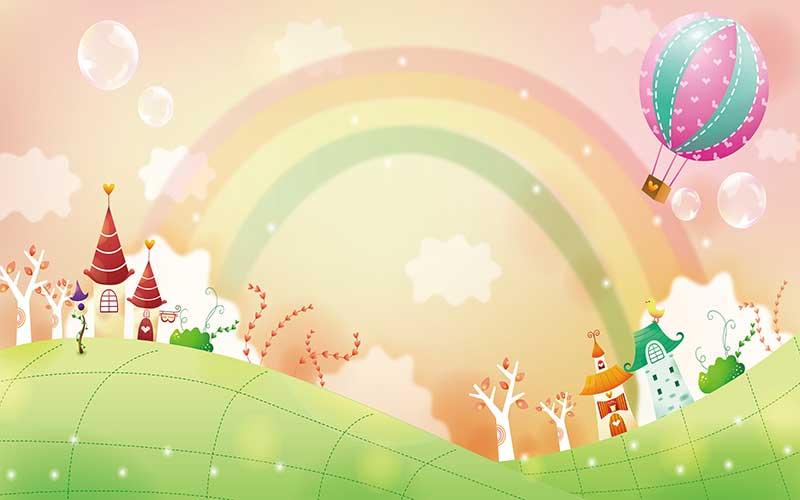 xt92740兒童卡通田園樹林綠色草地房子熱氣球彩虹