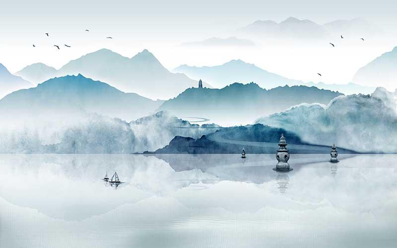 xt92858新中式蓝色水墨山水云海渔船宝塔西湖飞鸟水面倒影湖景淡雅