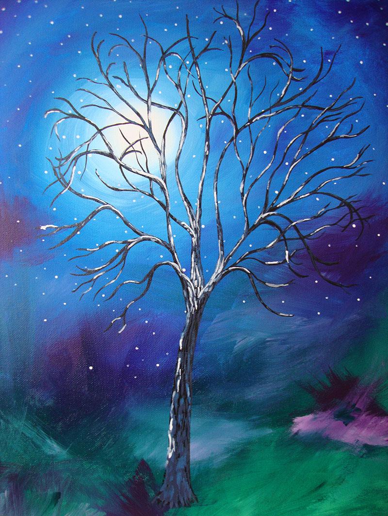 j11596x中式玄关梦幻树林星空月亮美式油画