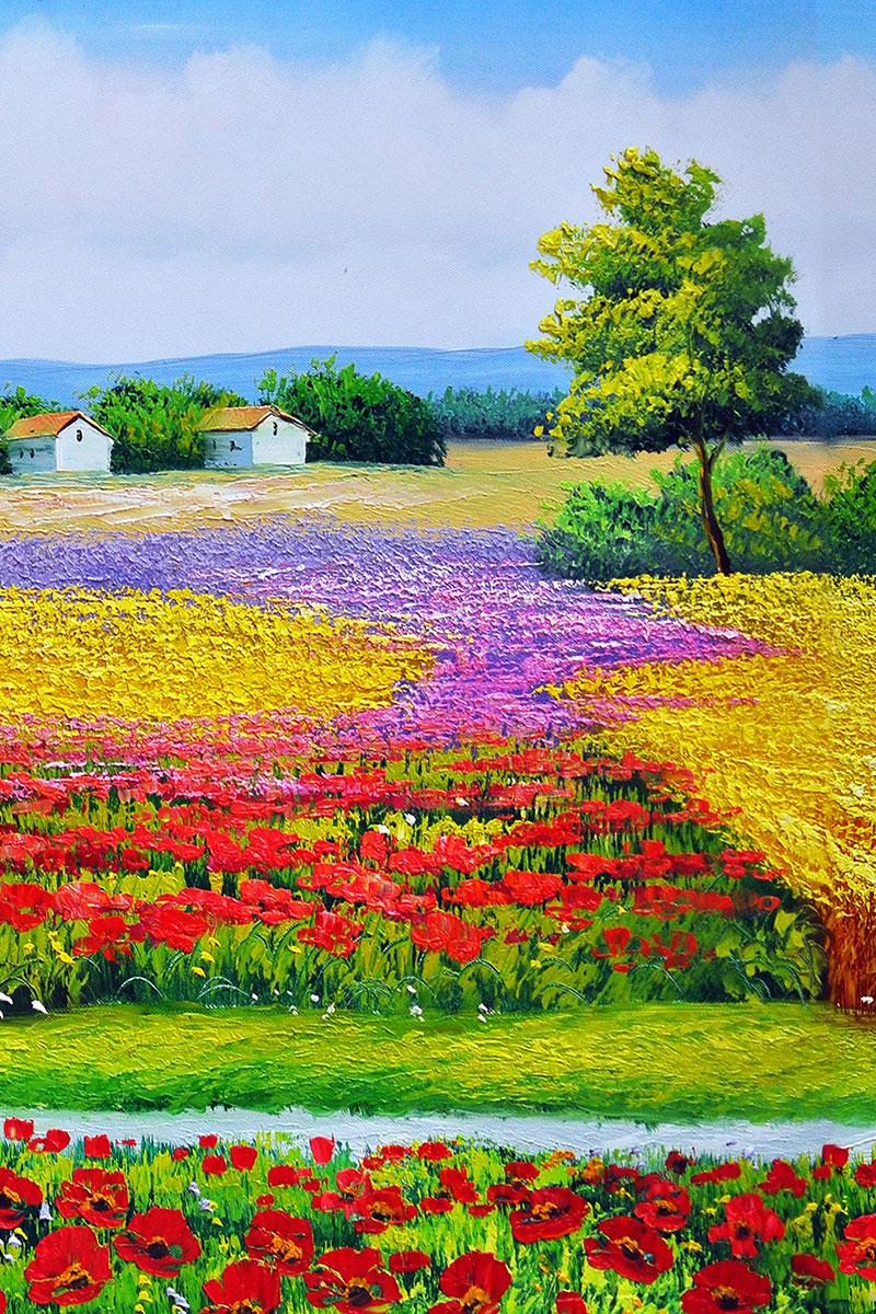 j11697x中式玄關美式田園鮮花小路樹小屋油畫風景