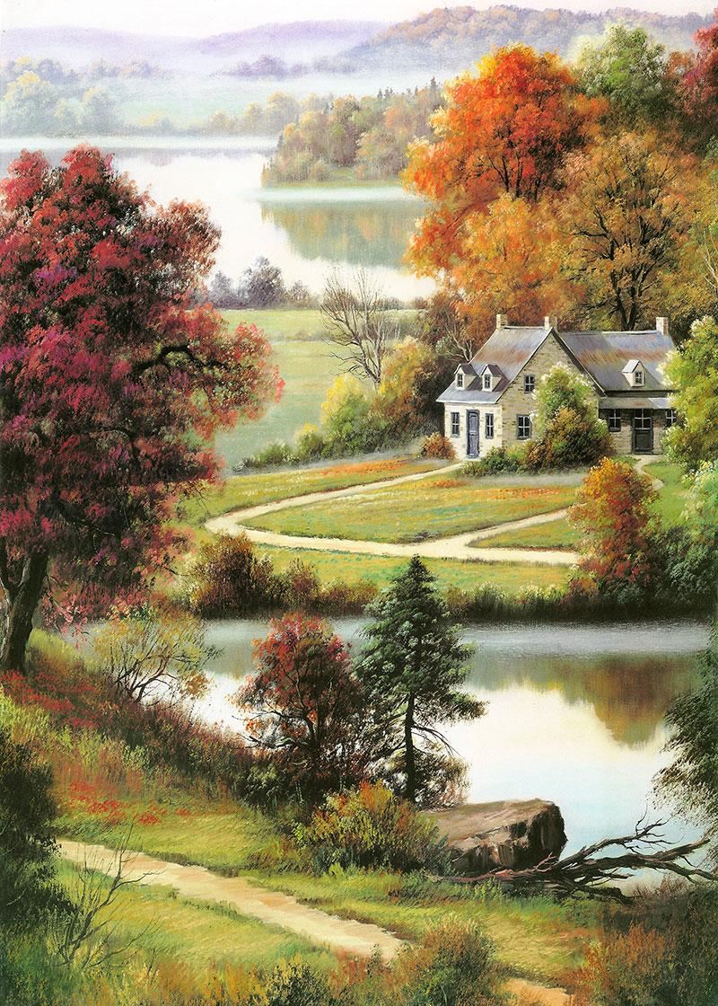 j11792x中式玄关风景美式田园树林房子小河小路远山托马斯油画