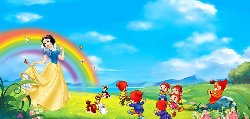 91281儿童宝贝卡通迪士尼白雪公主七个小矮人彩虹蓝天湖泊图片
