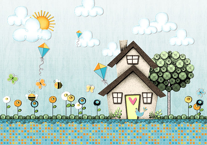 壁画_卡通墙_91308儿童蜜蜂宝贝花鸟背景树房子_壁画量尺绘制五面图图片