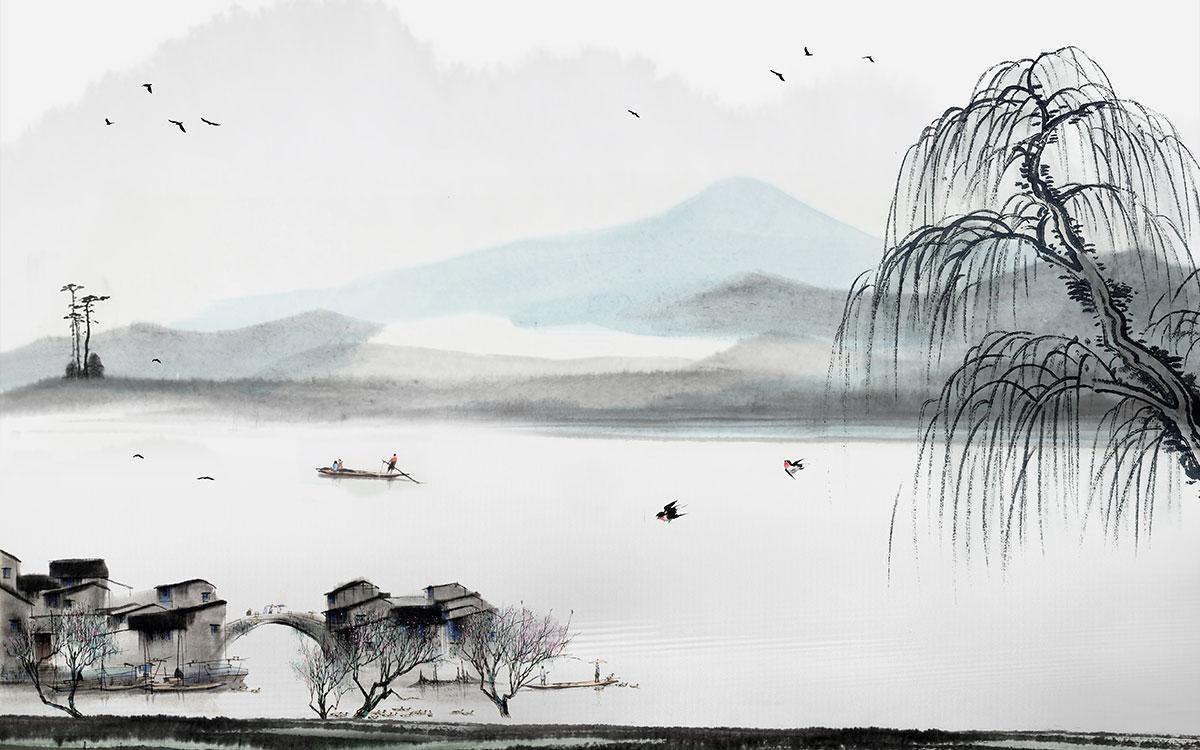 a00616(t14)新中式忆心水墨山水江南水乡房子飞鸟小船