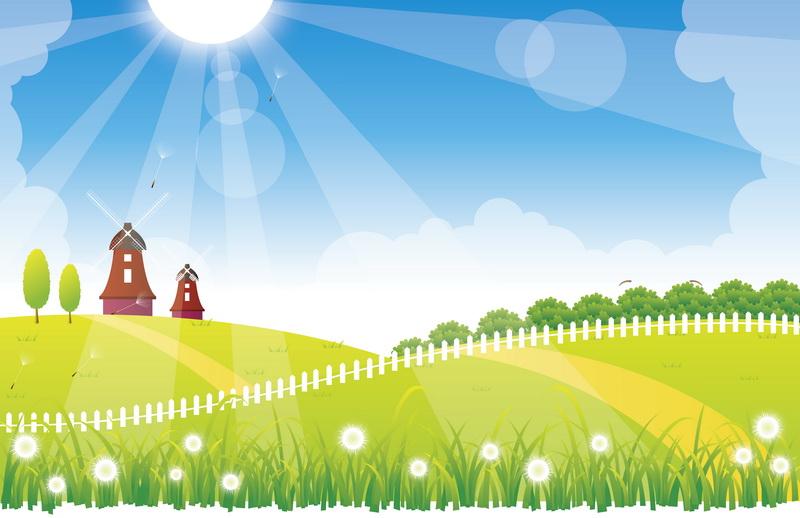 8507软包壁画儿童卡通阳光风车房子野花绿草地
