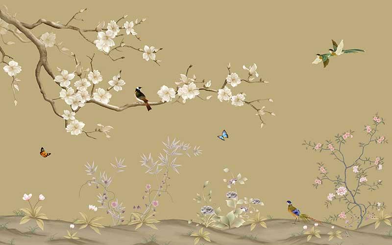 壁画_背景墙_a01926(t26)忆心2中式手绘工笔花鸟蝴蝶