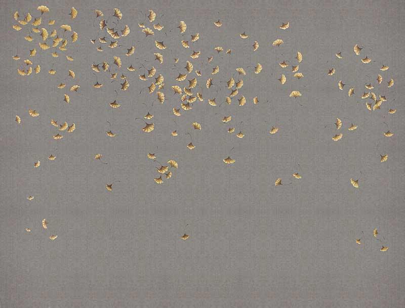 壁画_背景墙_xsh0146手绘本画册中式银杏叶麻布纹