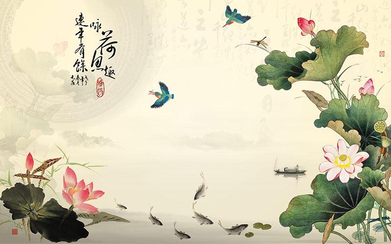 xt10288中式水墨风景荷花鸟渔船连年有余咏荷鱼趣寓意背景墙