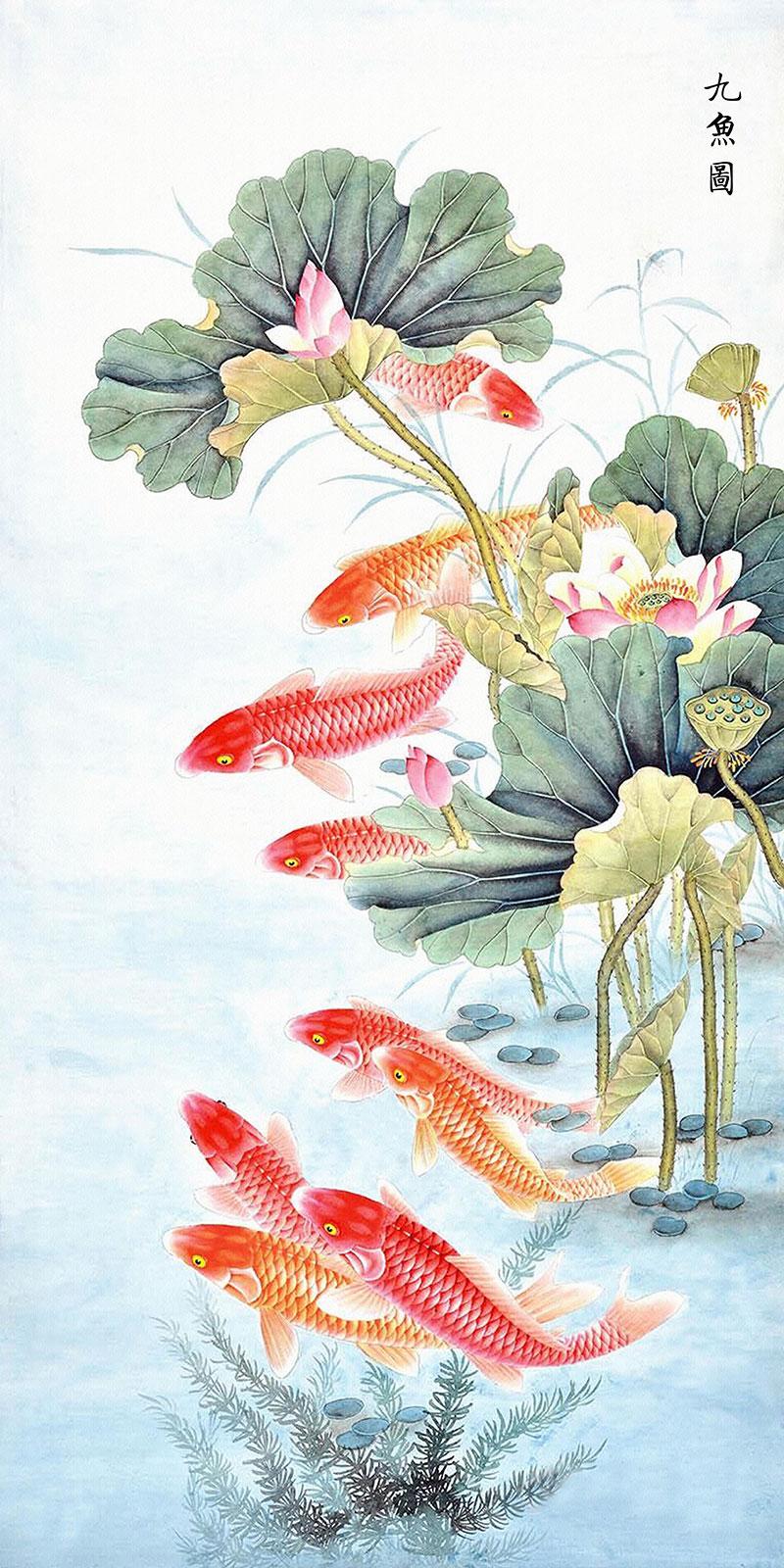 xt10372中式玄关荷花水草金鱼锦鲤鱼九鱼图寓意