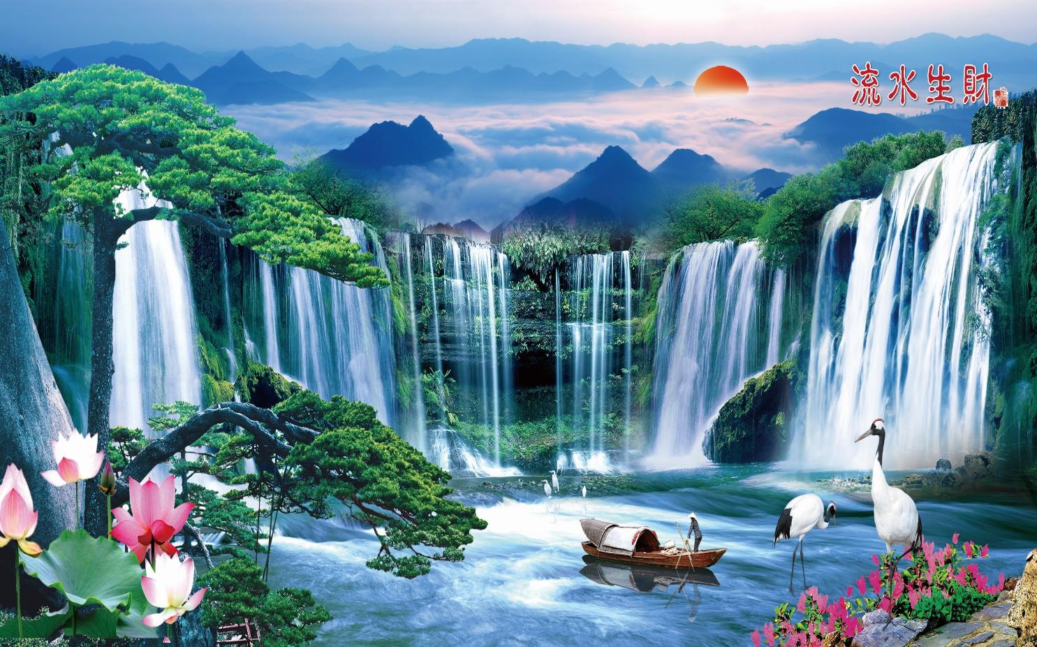 xt90147中式山水瀑布仙鹤太阳松树荷花金鱼渔船鲜花