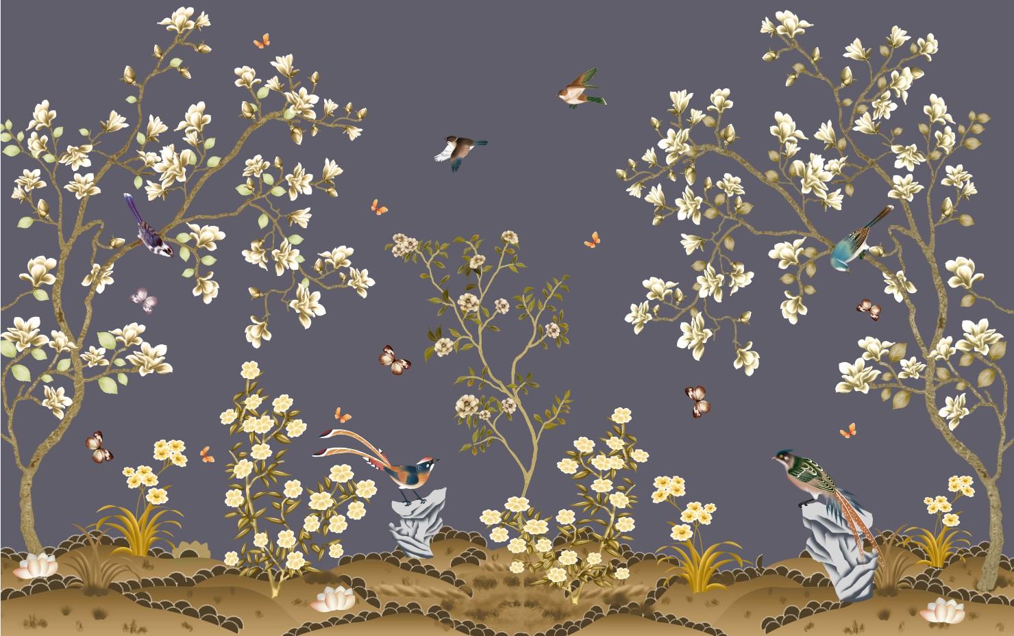 xt90177中式工笔花鸟背景墙花鸟假山手绘白芙蓉花