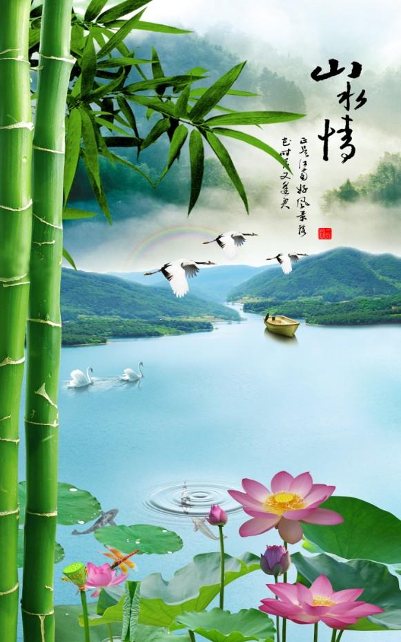 壁画_背景墙_xt90223中式园林玄关翠竹子仙鹤天鹅荷花